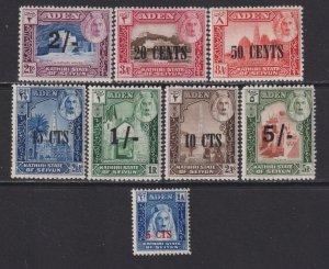 1951 Aden Kathiri State of Seiyun surcharge set  ML - MH Sc# 20 / 27 CV: $50.05