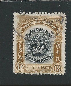 LABUAN 1902-03 18c BLACK & PALE BROWN FU SG 125 CAT £38