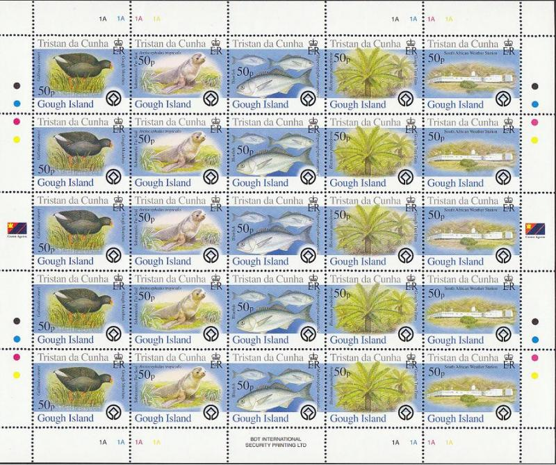 Tristan da Cunha Birds Fish Marine Life Plants Gough Island Full Sheet of 5