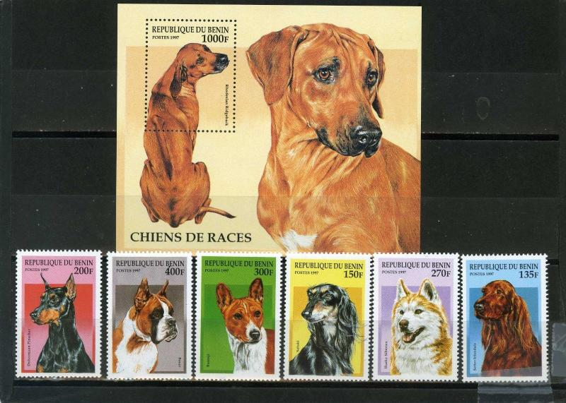BENIN 1997 Sc#980-986 DOGS SET OF 6 STAMPS & S/S MNH