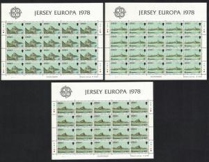 Jersey Europa CEPT 1978 Monuments Castles 3v Full Sheets D2 SG#187-189