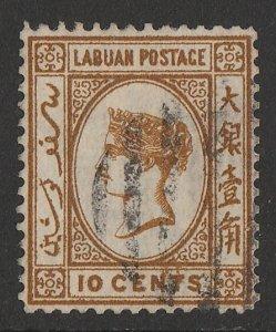 LABUAN : 1880 QV 10c brown, wmk crown CC.