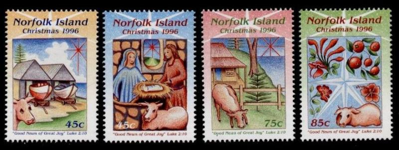 Norfolk Island 610-3 MNH Christmas, Animals, Nativity, Flowers, Fruit