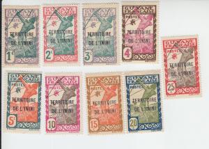 1932-40 Inini Carib Archer Overprints (Scott 1-9) MH