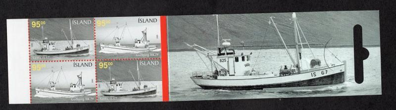 Iceland  #1046c  2005  MNH booklet fishing boats  4 x 95k