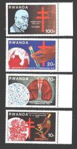 Rwanda. 1982. 1187-90. Koch fighting tuberculosis. MNH.