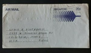 1977 Singapore to Columbia Maryland USA Aerogramme Folded Letter Airmail Cover