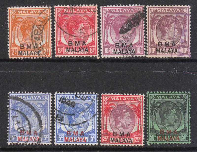 Straits Settlements 1945 BMA Mix (8) Used