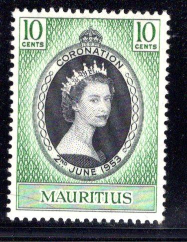 Mauritius #250, mint hinged, Queen Elizabeth II Coronation issue