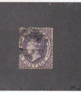 ST. LUCIA # 9  F-USED  6p 1864 QUEEN VICTORIA /VIOLET  CAT VALUE $43