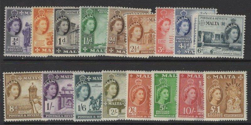 MALTA SG266/82 1956-8 DEFINITIVE SET MNH