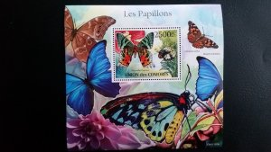 Comoro Islands MNH S/S Blue Butterflies Imp. 2011