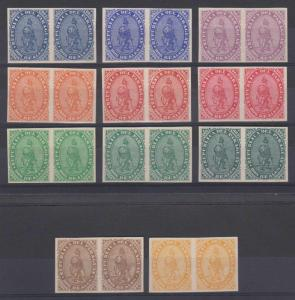 PARAGUAY 1870 LION Sc 2 GROUP OF 11 IMPERF PAIRS LARGE REPRINTS DIFFERENT COLORS