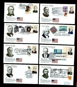 AMERIPEX '86 US PRESIDENTS on Combo Patriotic Late Use 8 Different FDC Covers