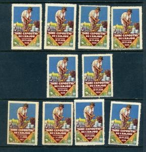 10 VINTAGE 1930 FIORE DE L'AN JOU  POSTER STAMPS (L737) FRANCE VINYARD WINE