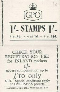 K2b 1/- Wmk St Edwards Crowns Back Cover 10 pound only. Inland letter rate 3d