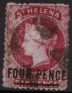 ST HELENA 1864 QV 4D ON 6D 18MM LONG WMK CROWN CC PERF 12.5 USED
