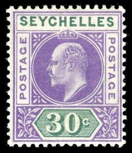 Seychelles 1903 KEVII 30c violet & dull green MLH. SG 52. Sc 44.