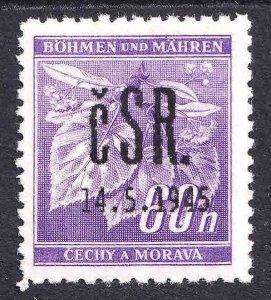 BOHEMIA & MORAVIA 49 FALKNOV 1945 OVERPRINT OG NH U/M F/VF #1
