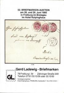 52. Briefmarken-Auktion, Gerd Ladewig  June 28-29, 1985