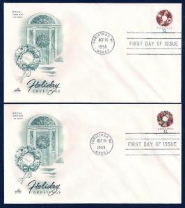 UNITED STATES FDCs (4) 32¢ Greetings BKLT 1998 ArtCraft