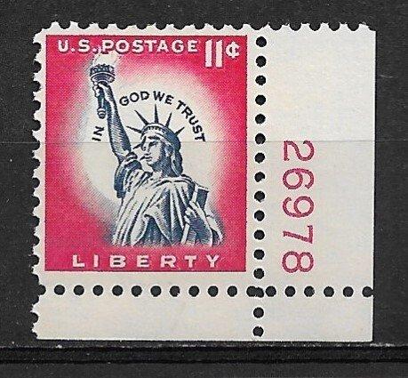 1961 Sc1044A 11¢ Statue of Liberty MNH Plate # single