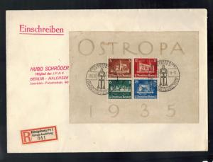 1935 Konigsberg Germany cover Ostropa Souvenir Sheet # B68