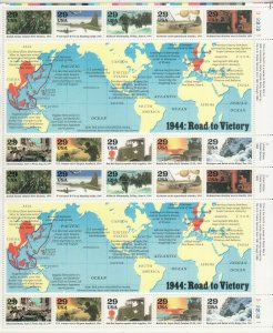 1994 U.S 29¢ 1944: Road to Victory WWII complete sheet of twenty MNH Sc# 2838