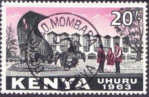 KENYA 1963 QEII 20/- Black & Rose SG14 FU