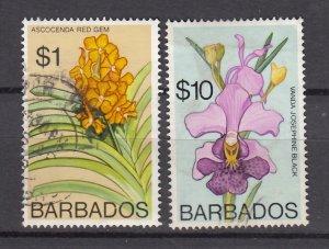 J26624 JLstamps  1975 barbados used#408b, 411b flower perf 14/1/2type 14