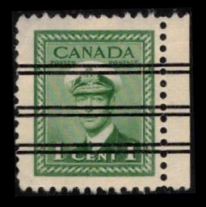 CANADA 1942 VINTAGE  SCARCE 1c #249 (249xx) PRECANCEL WITH SALVAGE