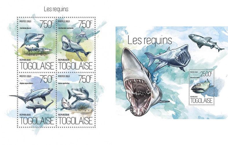 Sharks Haie Animals Marine Fauna Togo MNH stamp set