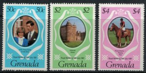 Grenada #1051-4* NH CV $1.85 Charles & Diana royal wedding set & souvenir sheet