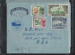 ZANZIBAR  (PP2608B)  1961  SULTAN 5C+10C+15C+20C ON FORMULA AEROGRAM TO USA
