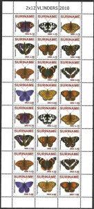 2010 Suriname Butterflies, Papillons, Farfalle complete Souvenir Sheet VFMNH!