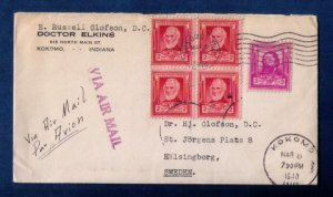 US Sc #865 Zip Block Of Four and Sc #866 On A Cover to Sweden F-VF