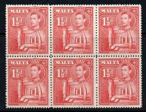 Malta 1938 KGVI 1½d scarlet SG 220 BLOCK 6 mint