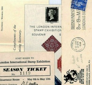 GB Cover INTERNATIONAL STAMP EXHIBITION Contents + Ticket 1950 {samwells} CZ30