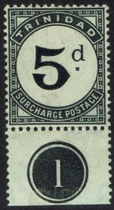 TRINIDAD 1905 POSTAGE DUE 5D PLATE 1 WMK MULTI CROWN CA