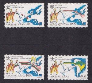 Vatican City   #C92-C95  MNH  1992  travels of Pope John Paul II 1991