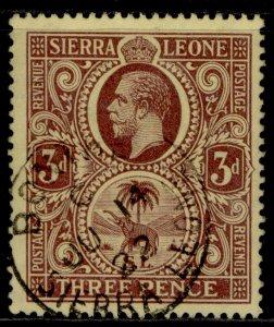 SIERRA LEONE GV SG116ba, 3d purple/pale yellow, VERY FINE USED. CDS