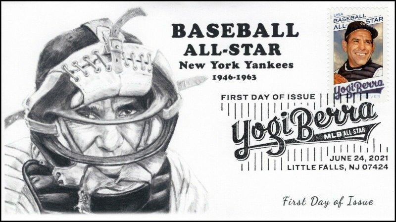 21-181, 2021, Yogi Berra, First Day Cover, Pictorial Postmark, Baseball, SC 5608