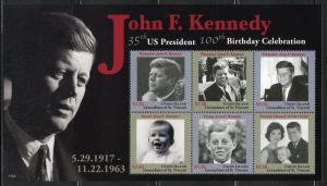 UNION ISLAND  2017 100th BIRTH ANNIVERSARY OF JOHN F. KENNEDY SHEET SET  MINT NH