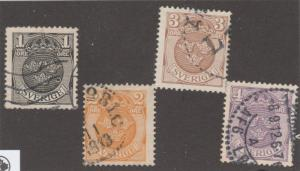 Sweden, used, Scott# 95-98, set of 4 stamps, WMK 181,   #M425