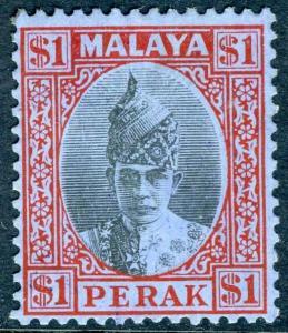 MALAYA PERAK-1940 $1 Black & Red/Blue.  A lightly mounted mint example Sg 119
