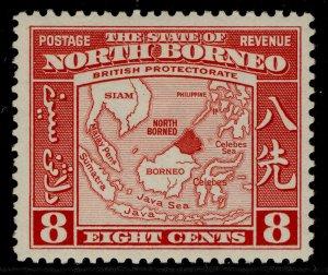 NORTH BORNEO GVI SG308, 8c scarlet, M MINT. Cat £26.