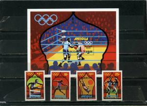 BARBUDA 1980 SUMMER OLYMPIC GAMES MOSCOW SET OF 4 STAMPS & S/S  MNH