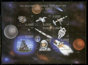 ST. VINCENT GR. THE HISTORY OF SPACE EXPLORATION 1609/2000 SHEET II MINT NH
