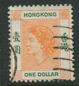 Hong Kong - Scott 194 - QEII - Definitive - 1954 - FU - Single $1.00c Stamp