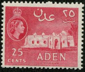 Aden SC# 51a Mosque, 25c, mint hinged